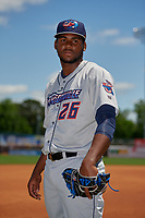 Jacksonville Jumbo Shrimp pitcher Jorge Guzman (26) poses for a photo before a Southern League game against the Mississippi Braves on May 5, 2019 at Trustmark Park in Pearl, Mississippi.  Mississippi defeated Jacksonville 1-0 in ten innings.  (Mike Janes/Four Seam Images)