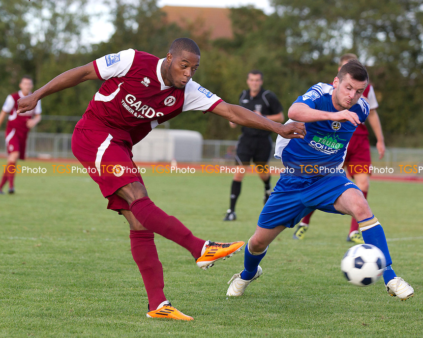 Donovan Simmonds of  Chelmsford City fires a shot at goal - Chelmsford City vs Truro City - Blue Square Conference Football at Melbourne Park, Chelmsford, Essex - 29/09/12 - MANDATORY CREDIT: Ray Lawrence/TGSPHOTO - Self billing applies where appropriate - 0845 094 6026 - contact@tgsphoto.co.uk - NO UNPAID USE.