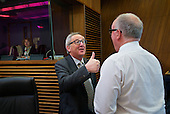 President of the EU Commission Jean-Claude Juncker at a weekly commission meeting .