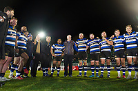 Bath Director of Rugby Todd Blackadder speaks to his team in a post-match huddle. Aviva Premiership match, between Bath Rugby and Northampton Saints on February 9, 2018 at the Recreation Ground in Bath, England. Photo by: Patrick Khachfe / Onside Images