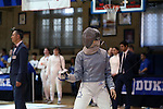 12 February 2017: Duke's Jennifer Ling during Saber. The Duke University Blue Devils hosted the Boston College Eagles at Card Gym in Durham, North Carolina in a 2017 College Women's Fencing match. Duke won the dual match 19-8 overall, 6-3 Foil, 5-4 Epee, and 8-1 Saber.