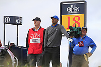 Tiger Woods (USA) on the 18th teeduring 1st round of the 148th Open Championship, Royal Portrush golf club, Portrush, Antrim, Northern Ireland. 18/07/2019.<br /> Picture Thos Caffrey / Golffile.ie<br /> <br /> All photo usage must carry mandatory copyright credit (© Golffile | Thos Caffrey)