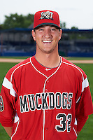 Batavia Muckdogs pitcher Brett Lilek (32) poses for a photo on July 8, 2015 at Dwyer Stadium in Batavia, New York.  (Mike Janes/Four Seam Images)