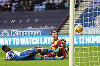 Charlie Wyke of Bradford City scores the first goal of the game during the Sky Bet League 1 match between Wigan Athletic and Bradford City at the DW Stadium, Wigan, England on 18 November 2017. Photo by Thomas Gadd.