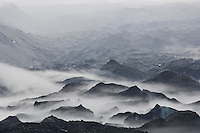 Mist forming over Tasman glacier during storm, Mount Cook national park, New Zealand