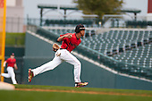 Loy Hickmon (5) of St John'S College High School in Silver Spring, Maryland during the Under Armour All-American Pre-Season Tournament presented by Baseball Factory on January 14, 2017 at Sloan Park in Mesa, Arizona.  (Freek BouwMike Janes Photography)