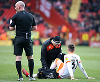Blackpool's Chris Long goes down injured<br /> <br /> Photographer David Shipman/CameraSport<br /> <br /> The EFL Sky Bet League One - Charlton Athletic v Blackpool - Saturday 16th February 2019 - The Valley - London<br /> <br /> World Copyright © 2019 CameraSport. All rights reserved. 43 Linden Ave. Countesthorpe. Leicester. England. LE8 5PG - Tel: +44 (0) 116 277 4147 - admin@camerasport.com - www.camerasport.com