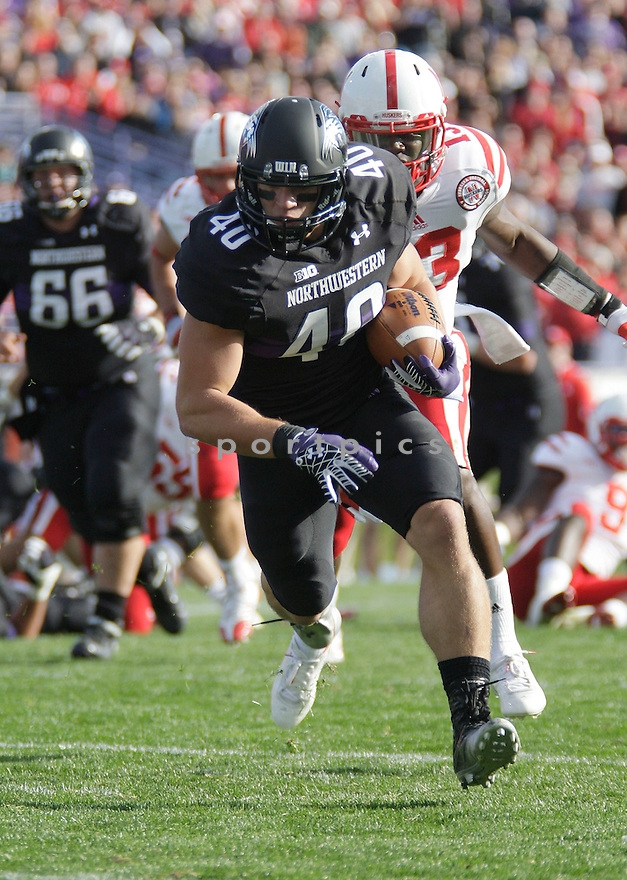 Northwestern Wildcats Dan Vitale (40) in action during a game against Nebraska on October 20, 2012 at Ryan Field in Evanston, IL. Nebraska beat Northwestern 29-28.