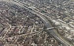 Transportation images; City, traffic, congestion, infrastructure, roadway, highway, cars, automobiles, images from airplane approach to Chicago's O'Hare Airport, 2017. (DePaul University/Jamie Moncrief)