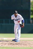 Glendale Desert Dogs relief pitcher Jordan Sheffield (10), of the Los Angeles Dodgers organization, looks in for the sign during an Arizona Fall League game against the Mesa Solar Sox at Camelback Ranch on October 15, 2018 in Glendale, Arizona. Mesa defeated Glendale 8-0. (Zachary Lucy/Four Seam Images)