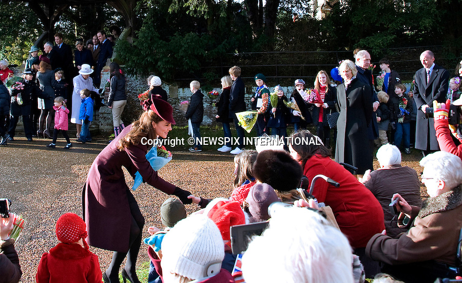 """KATE'S 1ST CHRISTMAS AT SANDRINGHAM_Kate takes the lead.Catherine, Duchess of Cambridge joined members of the Royal Family for her first Christmas at Sandringham, Norfolk..She attended Christmas Day Service together with other members of the Roayal Familt a St. Mary Magdalene Church, Sandringham_25/12/2011.Mandatory Credit Photo: ©Jam/NEWSPIX INTERNATIONAL..Please telephone : +441279324672 for usage fees..**ALL FEES PAYABLE TO: """"NEWSPIX INTERNATIONAL""""**..IMMEDIATE CONFIRMATION OF USAGE REQUIRED:.Newspix International, 31 Chinnery Hill, Bishop's Stortford, ENGLAND CM23 3PS.Tel:+441279 324672  ; Fax: +441279656877.Mobile:  07775681153.e-mail: info@newspixinternational.co.uk"""