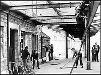 BNPS.co.uk (01202 558833)<br /> Pic: AndrewWright/BNPS<br /> <br /> Volunteers start rebuilding their track at Swanage station in 1977.<br /> <br /> A plucky seaside railway that refused to die is finally rejoing the rail network today after a 45 year fight to reverse the Beeching axe.<br /> <br /> At 10.23 sharp a train will once again leave Swanage in Dorset to rejoin the main network at Wareham, thanks to an army of volunteers who have spent 45 years painstakingly rebuilding their line. 