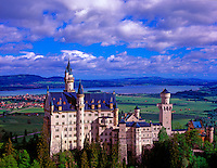 Neuschwanstein Castle  Bavarian Alps, Germany  View from Mary's Bridge  Built by King Ludwig II in late 1800's