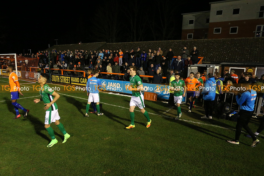 Lincoln players take to the field during Braintree Town vs Lincoln City, Vanarama National League Football at the IronmongeryDirect Stadium on 7th March 2017