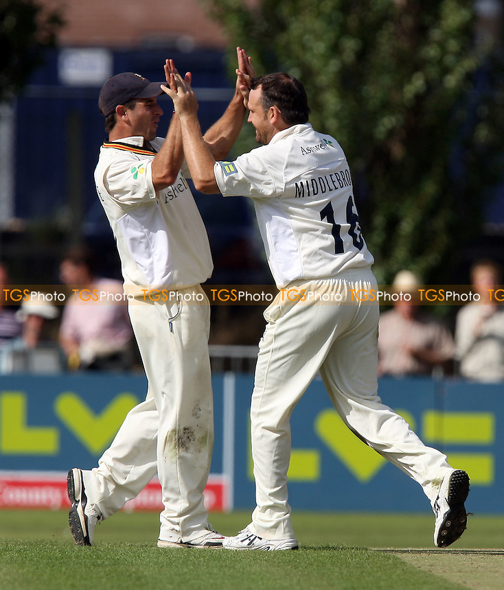 James Middlebrook of Essex (R) celebrates the wicket of Stephen Davies with catcher Ryan ten Doeschate - Essex CCC vs Worcestershire CCC - LV County Championship Division Two at Castle Park, Colchester -  21/08/08 - MANDATORY CREDIT: Gavin Ellis/TGSPHOTO - Self billing applies where appropriate - Tel: 0845 094 6026