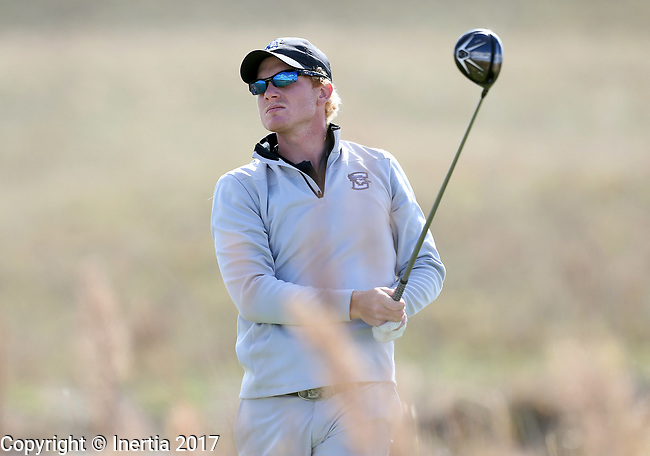 VALENTINE, NE - OCTOBER 3: Charlie Bolton from Creighton watches his tee shot on the 6th hole during the final round of the South Dakota State Invitational Tuesday at The Prairie Club in Valentine, NE. (Photo by Dave Eggen/Inertia)