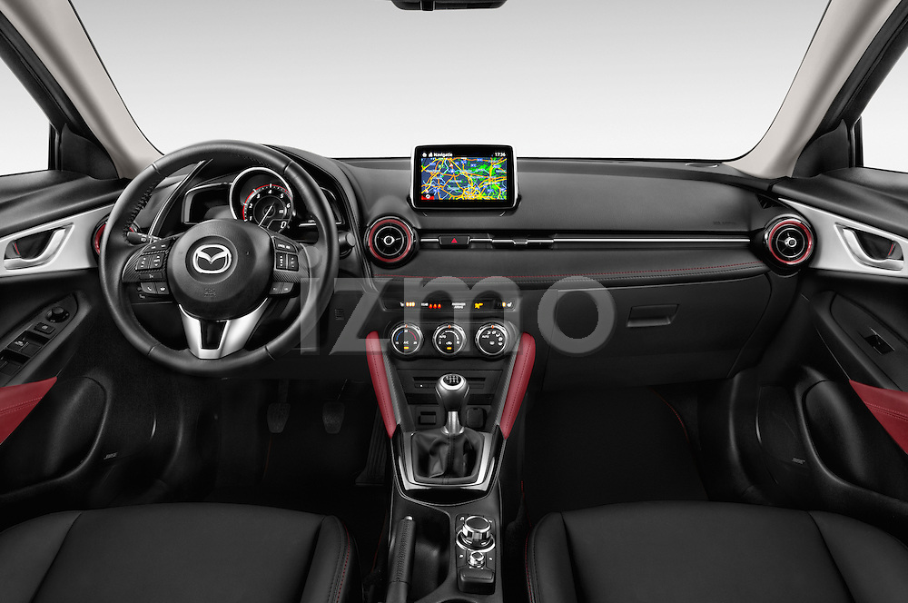 Stock photo of straight dashboard view of 2015 Mazda CX-5 Skycruise 5 Door Suv Dashboard