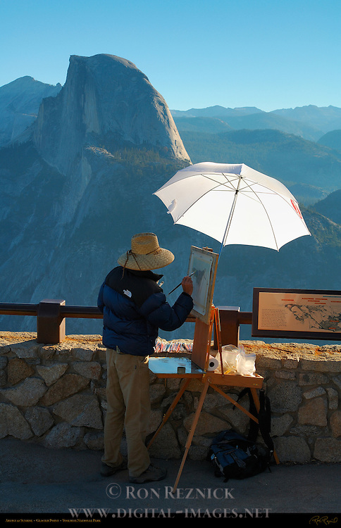 Artist Painting Half Dome at Sunrise in Autumn, Glacier Point, Yosemite National Park