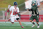 Redondo Beach, CA 05/11/10 - Zack Henkhaus (PV # 12) and Ryan Kole (MC # 5) in action during the 2010 Los Angeles Boys Lacrosse championship game, Mira Costa defeated Palos Verdes 12-10 at Redondo Union High School.