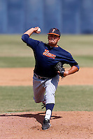 Koby Gauna of the Cal State Fullerton Titans pitches during a intrasquad game at Goodwin Field on October 13, 2013 in Fullerton, California. (Larry Goren/Four Seam Images)