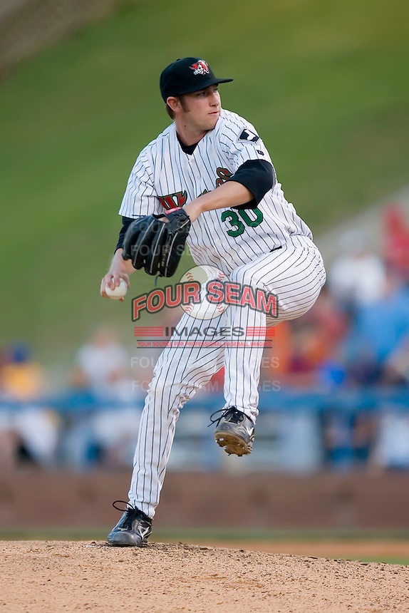 Starting pitcher Levi Maxwell (30) in action versus the Kinston Indians at Ernie Shore Field in Winston-Salem, NC, Saturday May 17, 2008.