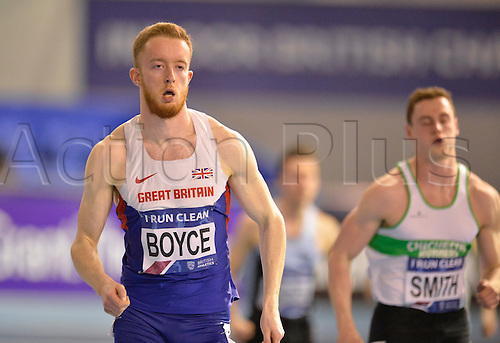 27.02.2016. EIS Sheffield, Sheffield, England. British Indoor Athletics Championships Day One. Alex Boyce competing in a 400m Semi-Final.