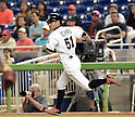 Ichiro Suzuki (Marlins), MAY 18, 2015 - MLB : Miami Marlins batter Ichiro Suzuki runs to the first base after hitting his 2,873rd major league hit in the fifth inning during the major league baseball game against the Arizona Diamondbacks at Marlins Park in Miami, United States. (Photo by AFLO)