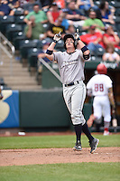 ***Temporary Unedited Reference File***Northwest Arkansas Naturals first baseman Frank Schwindel (15) during a game against the Springfield Cardinals on April 27, 2016 at Hammons Field in Springfield, Missouri.  Springfield defeated Northwest Arkansas 8-1.  (Mike Janes/Four Seam Images)