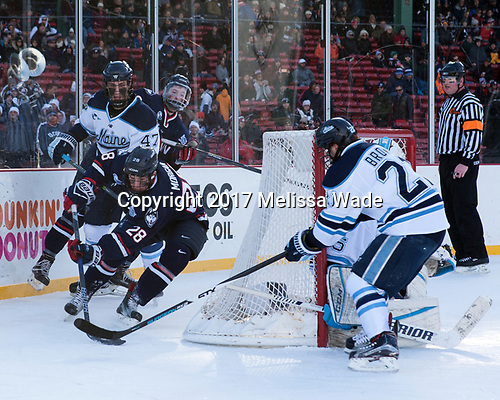 Brian Morgan (UConn - 28), Mark Hamilton (Maine - 47), Miles Gendron (UConn - 10), Cam Brown (Maine - 21), Tim Low - The University of Maine Black Bears defeated the University of Connecticut Huskies 4-0 at Fenway Park on Saturday, January 14, 2017, in Boston, Massachusetts.