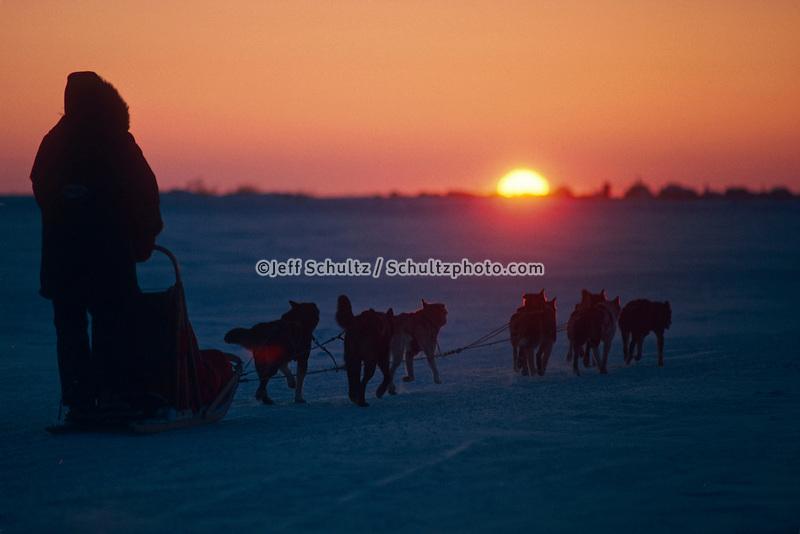T.Morlien sunset Unalakleet Western AK Iditarod 1988