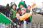 Cousins Aidan Bukovec, Eli Morris, Luke Moore, Aaron and Caleb Morris enjoying the annual St Patrick's Day Parade in Abbeyfeale last Saturday afternoon.