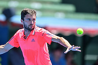 January 10, 2017: Gilles Simon (FRA) in action against Ivo Karlovic (CRO) on day one of the 2017 Priceline Pharmacy Kooyong Classic tournament at the Kooyong Lawn Tennis Club in Melbourne, Australia. Karlovic won 64 65 10. Sydney Low/AsteriskImages