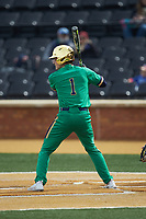 Ryan Cole (1) of the Notre Dame Fighting Irish at bat against the Wake Forest Demon Deacons at David F. Couch Ballpark on March 10, 2019 in  Winston-Salem, North Carolina. The Demon Deacons defeated the Fighting Irish 7-4 in game one of a double-header.  (Brian Westerholt/Four Seam Images)