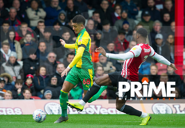 WBA's Mason Holgate during the Sky Bet Championship match between Brentford and West Bromwich Albion at Griffin Park, London, England on 16 March 2019. Photo by Andrew Aleksiejczuk / PRiME Media Images.