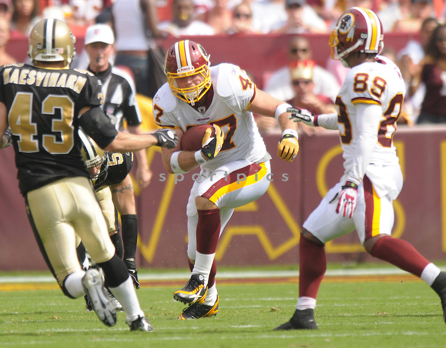 CHRIS COOLEY, of the Washington Redskins, in action during the Redskins game against the New Orleans Saints on September 14, 2008 in Washington DC...Redskins win 29-24..SportPics