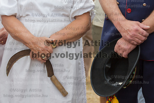 Participants attend a traditional harvest festival in Opalyi (some 280 kilometers East of capital city Budapest), Hungary on July 13, 2013. ATTILA VOLGYI