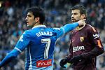 League Santander 2017-2018 - Game: 22.<br /> RCD Espanyol vs FC Barcelona: 1-1.<br /> Gerard Moreno vs Gerard Pique.