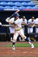 Michigan Wolverines outfielder Cody Bruder (3) during the first game of a doubleheader against the Siena Saints on February 27, 2015 at Tradition Field in St. Lucie, Florida.  Michigan defeated Siena 6-2.  (Mike Janes/Four Seam Images)