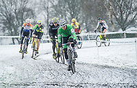 Picture by Allan McKenzie/SWpix.com - 10/12/17 - Cycling - HSBC UK National Cyclo-Cross Championships - Round 5, Peel Park - Bradford, England - Bill Harding leads the field in the early stages of the mens and U23 race.