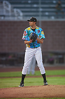 Idaho Falls Chukars starting pitcher Anthony Veneziano (49) prepares to deliver a pitch during a Pioneer League game against the Missoula Osprey at Melaleuca Field on August 20, 2019 in Idaho Falls, Idaho. Idaho Falls defeated Missoula 6-3. (Zachary Lucy/Four Seam Images)