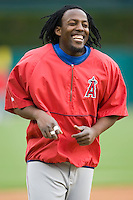 Los Angeles Angels right fielder Vladimir Guerrero (27) is all smiles during batting practice at Comerica Park in Detroit, MI, Sunday, April 27, 2008.
