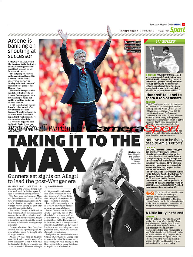 Metro - 08-May-2018 - 'Au revoir: Wenger waves goodbye to Arsenal fans in his final home game' - Photo by Rob Newell (Camerasport via Getty Images)