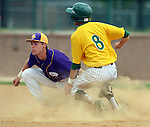 SIOUX FALLS, SD - MAY 24:  Jameson Henning #36 from Western Illinois puts the tag on Aiden Hook #8 from NDSU in the xxx inning of the 2014 Summit League Baseball Championship game Saturday afternoon at the Sioux Falls Stadium. (Photo by Dave Eggen/Inertia)
