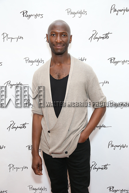 Phillip James Brannon attends the photo call for Playwrights Horizons world premiere production of 'Log Cabin' on May 8, 2018 at Playwrights Horizons rehearsal hall in New York City.
