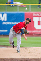 Andrew Kittredge (25) of the Tacoma Rainiers during the game against the Salt Lake Bees in Pacific Coast League action at Smith's Ballpark on May 7, 2015 in Salt Lake City, Utah. The Bees defeated the Rainiers 11-4 in the completion of the game that was suspended due to weather on May 6, 2015.(Stephen Smith/Four Seam Images)