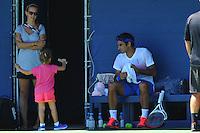 Roger Federer con sua moglie Mirka ed una delle sue figlie<br /> New York Flushing Meadows 03-09-2013 Tennis Torneo US Open Grande Slam.<br /> Photo Antoine Couvercelle / Panoramic / Insidefoto<br /> ITALY ONLY