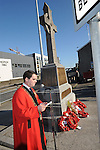 Mayor of Drogheda Kevin Callan speaking at the annual memorial cermony at the Cenotaph. Photo: Colin Bell/pressphotos.ie