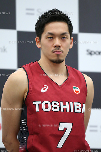 Ryusei Shinoyama (Brave Thunders), <br /> JUNE 10, 2016 - Basketball : <br /> B.LEAGUE chairman Masaaki Okawa and players <br /> attend the press conference <br /> to announce the opening day and schedule of the 2016-2017 season in Tokyo, Japan. (Photo by AFLO SPORT)