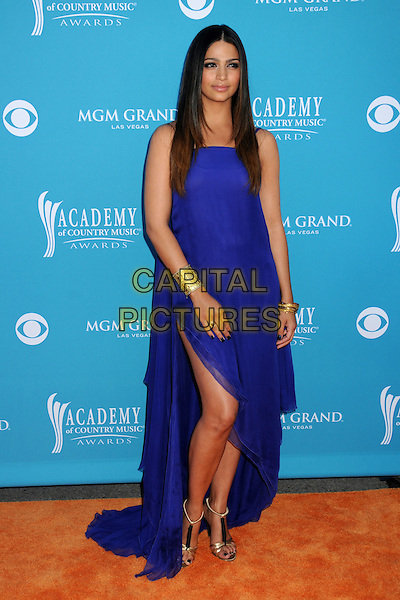 CAMILA ALVES.45th Annual Academy Of Country Music Awards - Arrivals held at the MGM Grand Garden Arena, Las Vegas, Nevada, USA..April 18th, 2010.ACM full length purple blue slit split strapless maxi dress gold sandals cuff bracelet bracelets open toe camilla .CAP/ADM/BP.©Byron Purvis/AdMedia/Capital Pictures.
