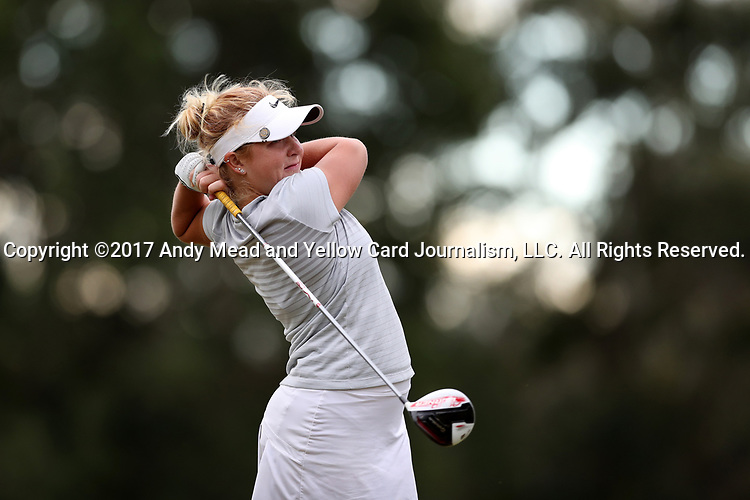 WILMINGTON, NC - OCTOBER 28: UCF's Anna Hack on the 11th tee. The second round of the Landfall Tradition Women's Golf Tournament was held on October 28, 2017 at the Pete Dye Course at the Country Club of Landfall in Wilmington, NC.